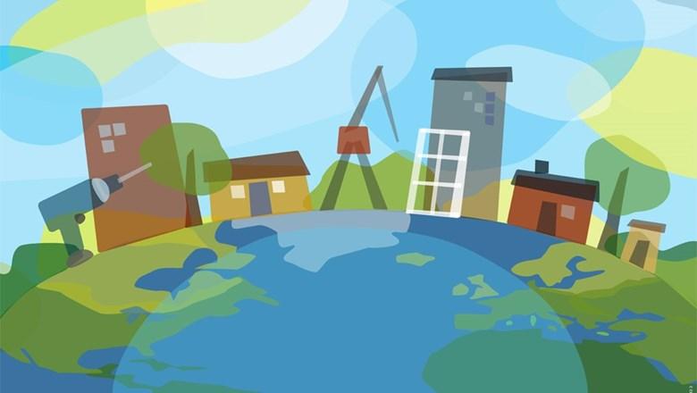 Illustration med hus, verktyg, kranar och växter på en jordglob